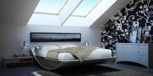 amenajare dormitor modern alb negru mansarda