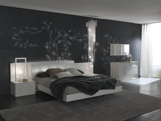 amenajare dormitor modern culoare gri autocolant decorativ