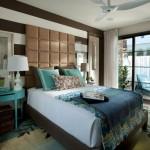 amenajare dormitor modern maro alb turcoaz