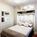 amenajare dormitor modern mic culoare alba