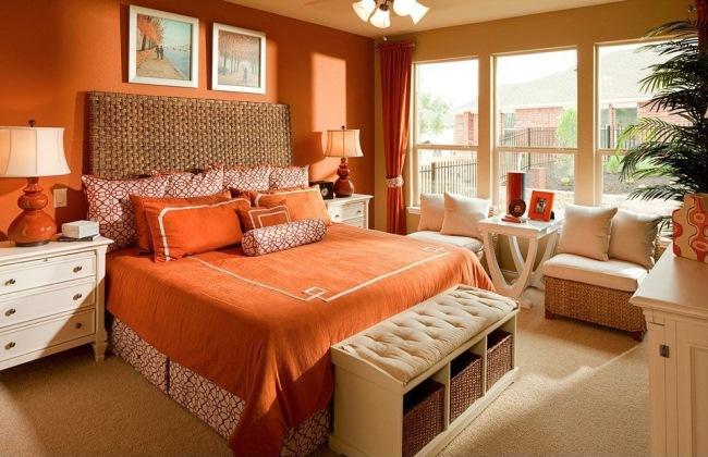 amenajare dormitor modern portocaliu