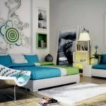 amenajare dormitor modern tineresc alb turcoaz