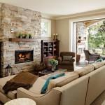 amenajare living clasic decor piatra naturala si lemn conform reguli feng shui