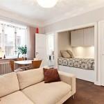 amenajare living dormitor si loc de luat masa in open space apartament mic