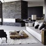 amenajare living modern alb negru decor piatra naturala