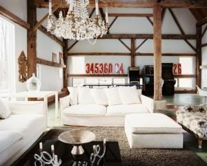 amenajare living modern cu elemente decorative rustice