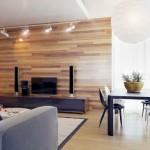 amenajare living modern culori neutre perete placat cu parchet