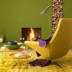 amenajare living modern in galben si verde cu semineu tendinte 2014
