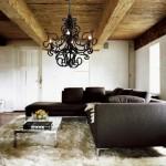 amenajare living modern tavan lemn masiv rustic