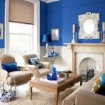amenajare living stil clasic decor pereti albastru culoarea anului 2014