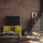 amenajare living vintage perete caramida