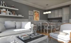 amenajare mic apartament gri