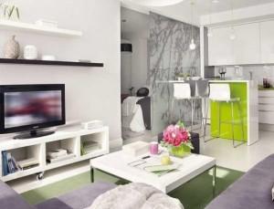 amenajare open space bucatarie si living apartament modern 2 camere 40 mp