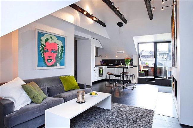 amenajare open space modern apartament doua camere mansarda