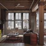 apartament amenajat stil industrial vintage lemn si caramida