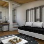 Amenajarea unui apartament modern mic, cu dormitor open space
