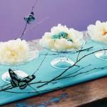 aranjament decorativ in invoire si turcoaz pentru masa de Paste