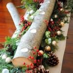 aranjament decorativ suport lumanari pentru masa de craciun din bustean lemn