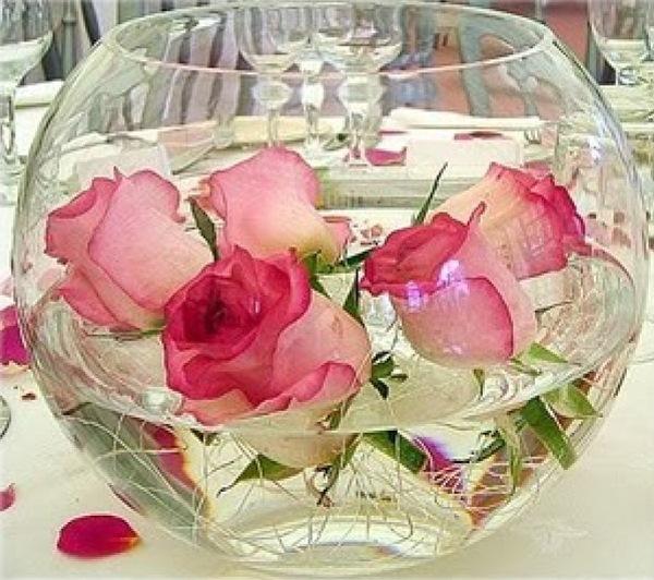 aranjament masa nunta bol sticla