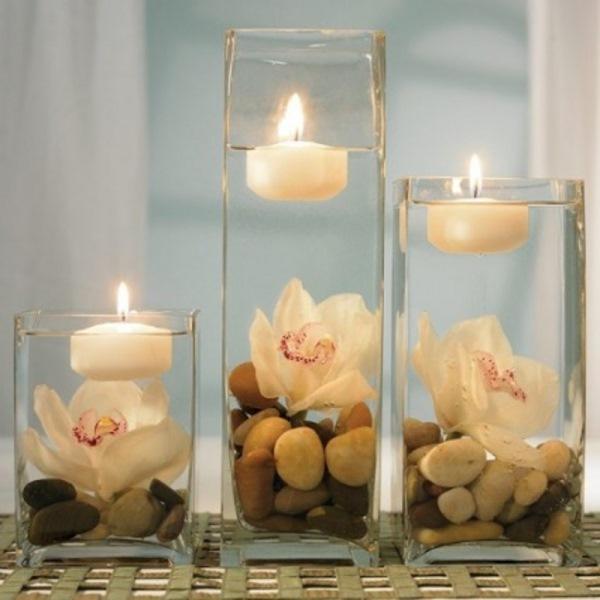 aranjament masa nunta vaza dreptunghiulara lumanare