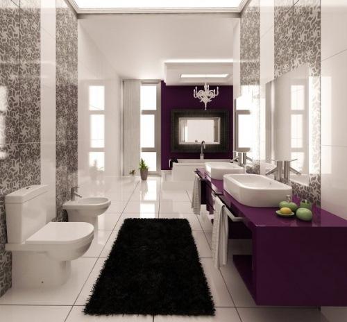 baie alb negru violet