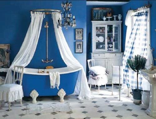 baie albastru retro