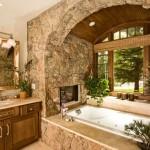 baie de lux decorata cu piatra naturala