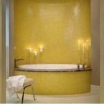baie de lux mozaic de sticla culoare galbena