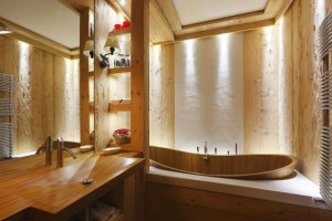 baie decorata lemn stil rustic