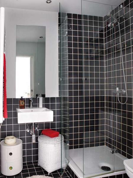 baie mica apartament modern decorata gresie faianta neagra