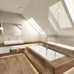 baie modern minimalista pardoseala placata cu parchet impermeabil