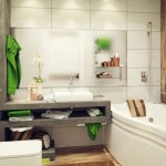 baie moderna accent cromatic verde prosoape bumbac