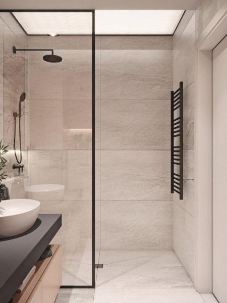 baie moderna cu cabina de dus walk in aclasi finisaj pereti si pardoseala