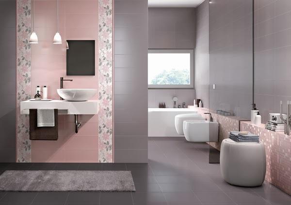 baie moderna decorata in gri si roz