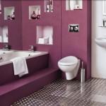 baie moderna decorata in mov