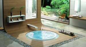 baie moderna jacuzzi pardoseala