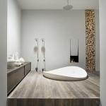 baie moderna minimalista pardoseala dusumea lemn