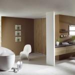 baie moderna minimalista pereti placati cu lemn