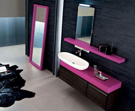 baie moderna negru roz ciclam
