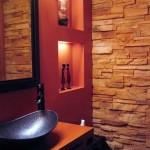 baie moderna stil oriental pereti placati cu piatra naturala