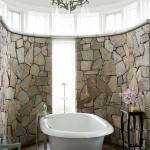 baie ovala pereti placati cu piatra naturala de rau