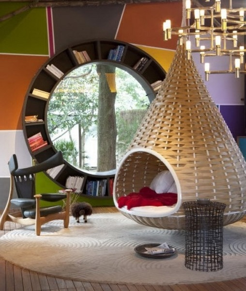 balansoar impletit suspendat de tavan interior living modern