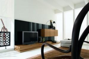 biblioteca modulara furnir lemn si design minimalist decor living modern