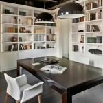 biblioteca si birou apartament open space modern