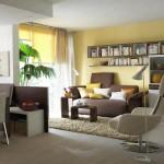 biblioteca si rafturi deasupra canapelei din living