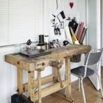 birou din banc de tamplarie vechi din lemn masiv