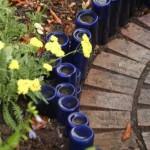 bordura delimitare rond gradina din sticle goale reciclate