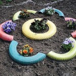 borduri pentru gradina din cauciucuri reciclate colorate