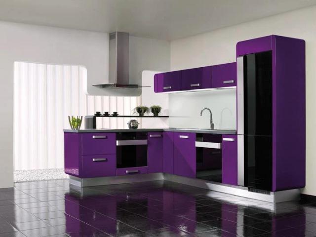 bucatarie design modern violet