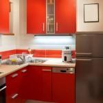 bucatarie mica moderna mobila rosie